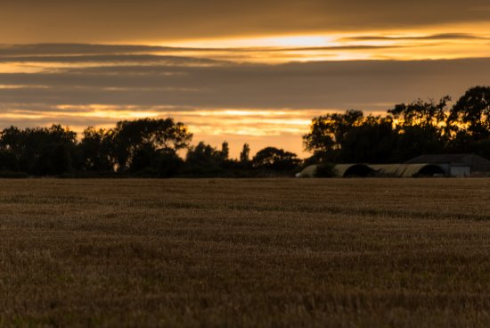 Lessingham, UK: View across the fields opposite the pub.