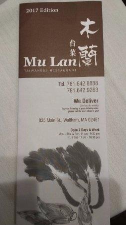 MuLan Taiwanese Restaurant: menu