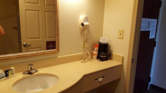 Hiram, GA: coffeemaker and hairdryer in bathroom