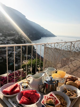 Hotel Poseidon: breakfast on our balcony
