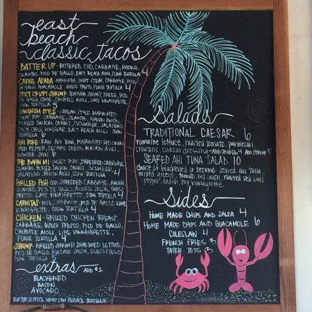 East Beach Tacos Menu