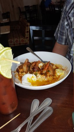 Alchemy: Shrimp and grits.  French toast and breakfast sandwich