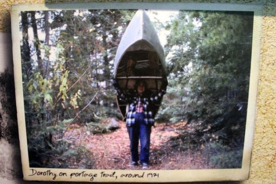 Ely, MN: Dorothy on a portage trail 1971 at the age of 64!