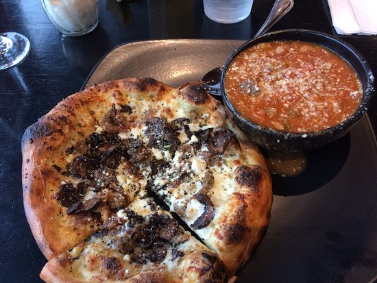 Warrensburg, MO: Lunch portion: Carmelized Onions, Chevre and Italian Sausage 6-inch Pizza with White Bean Minest