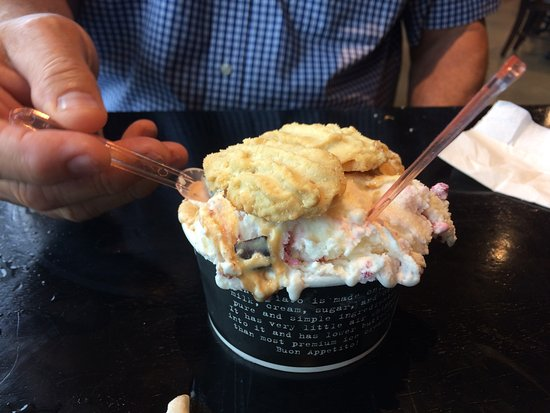 Warrensburg, MO: Crispy almond butter cookies atop gelato: Salty Caramel Chocolate Chip, White Chocolate Raspberr