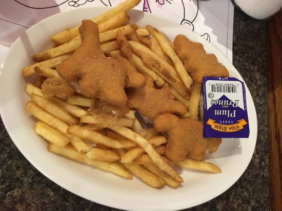 Yavis Family Restaurant: Kids dinobuddies and fries