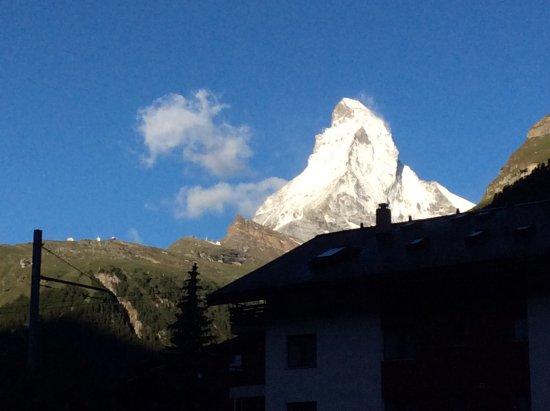 Glacier Express: The Matterhorn from our hotel room in Zermatt