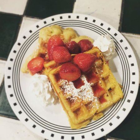 Dancing Avocado Kitchen: Waffles offered both Vegan and Regular