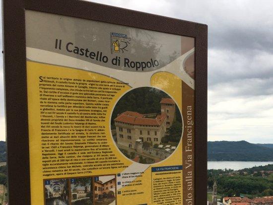 Roppolo, Italie : Indicazione con la storia del castello