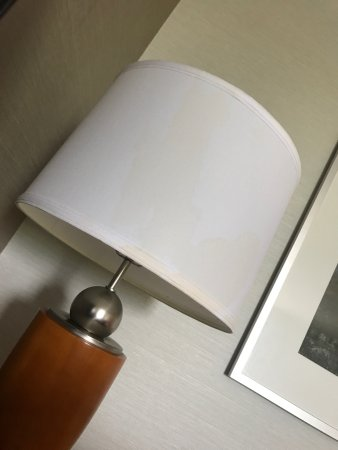 Fort Washington, PA: view from room and lamp shade with soda stains..