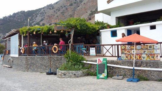 Agia Roumeli, Grekland: View on the Taverna Paralia