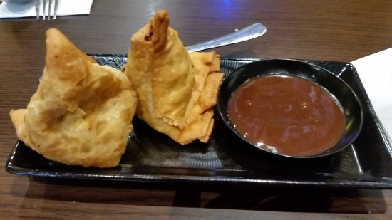 Clayton, Australia: Crispy samosas with imli (tamarind dip).