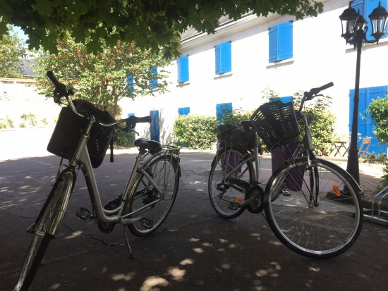 Hotel Castel Fleuri: our bikes overlooking the hotel rooms