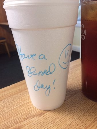 Angie's Restaurant: Sweet Tea to go with an encouraging message. This was on every to go cup!