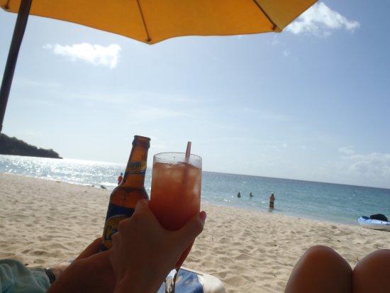 Mount Cinnamon Resort Beach Club Cheers Drinks From The Bar
