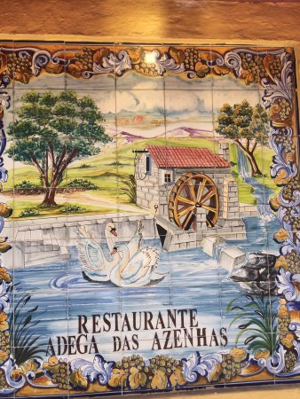 Azenhas do Mar, Portugal: Tiles with the name of the restaurant