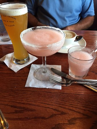 Westborough, MA: Hubbies beer and my watermelon frozen margarita