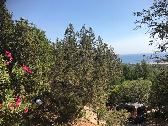 U Pirellu Camping : vanaf het hogere gedeelte van de camping heb je uitzicht op zee