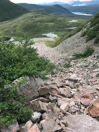 Gros Morne Hiking Trail: looking down the trail up the mountain