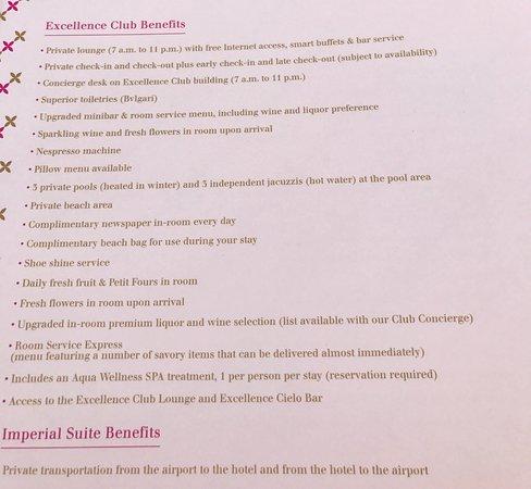Excellence Club Playa Mujeres Room Service Menu