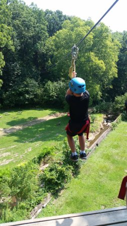 Sky Tours at YMCA Union Park Camp: Jumping off the tower.