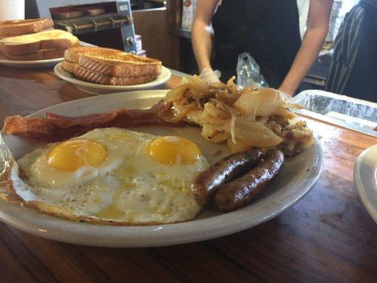 Lenny's Restaurant: Fried Eggs Sunside Up, bacon, sausage & potatoes