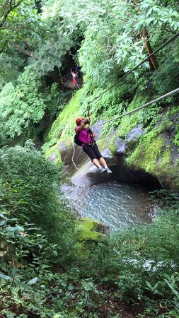 Miramar, Costa Rica: Two of the cables involve rappelling over the waterfalls. It's really easy, and safe!