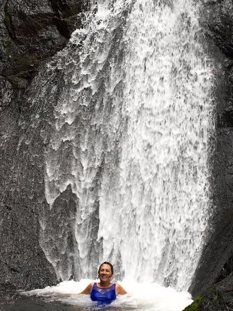 Miramar, Costa Rica: Swimming under a waterfall midway through the tour