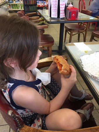 Shamong, NJ: My daughter eating a Panzerotti at Mighty Joe's