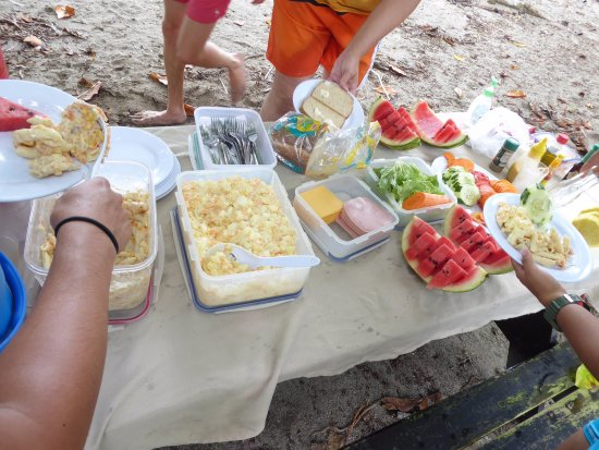 Drake Bay, Costa Rica: Fruit, pasta salad with tuna, potato salad, ingredients for sandwiches. Iced tea and punch.