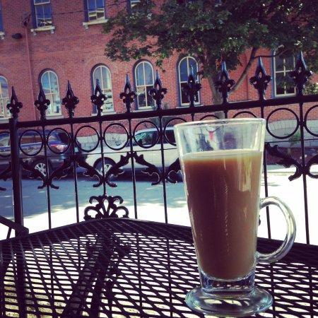 Coffee Cravings : Outdoor patio overlooking street