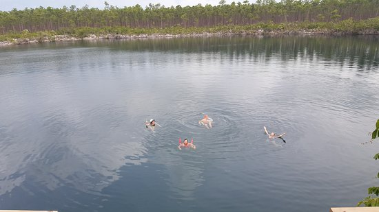 Blue Holes National Park: Relaxing in Captain Bill's fresh water layer