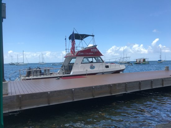 Christiansted, Saint Croix: Lunch at Rumrunners before the Dive while watching the boat and the Tarpon