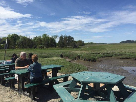 J.T. Farnham's: Tables outside overlooking the marsh