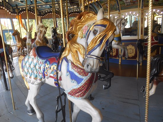 Lahaska, PA: An Illions style outside horse on the Giggleberry Farms carousel