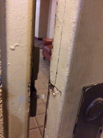 Plaza Hotel: Security door broken.