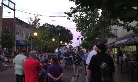 Florence, AL: A Band Performing On Mobile Plaza During First Friday's