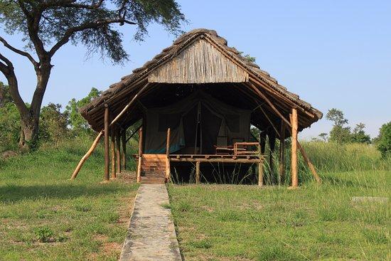 Bwana Tembo Safari Camp: Lodge super sympa, basique, literie très confortable, sdd, lavabo, wc en dur