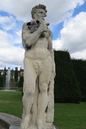 Renishaw, UK: A visitor with a statue