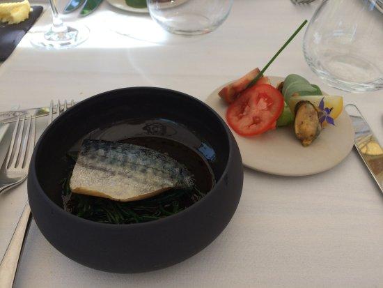 Merelbeke, Bélgica: Filet van makreel, zeekraal ,Zeeuwse mosseltjes...