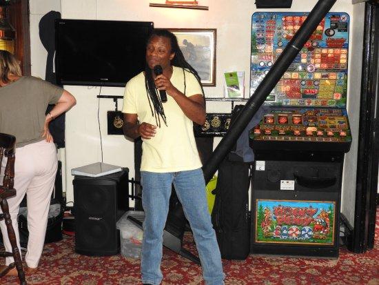 Northfleet, UK: Michael Singing On the Charity day....post mini storm