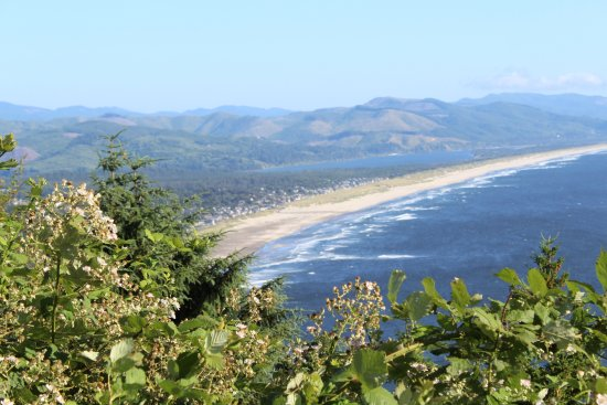 View from highway 101 looking down to Manzanita. Sunset Surf Motel is down on that beach.