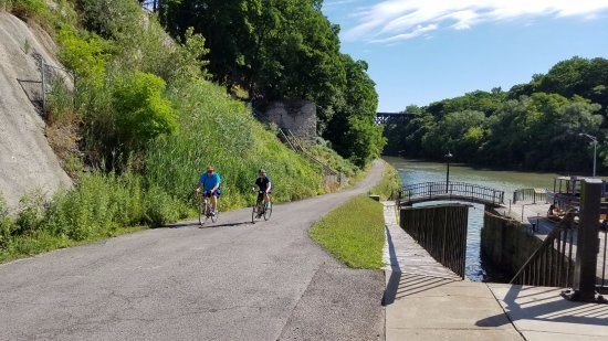 Lockport, NY: Ride along the Erie Canalway Towpath alongside the Iconic Flight of Five Locks..