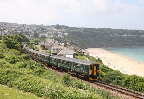 St. Ives, UK: Train at Carbis Bay on the St Ives Bay Line