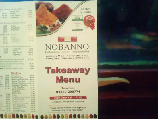 Nobanno Lakeside Indian Restaurant: they also do takeaway