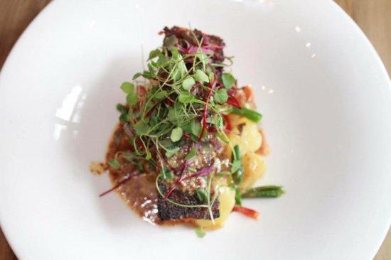 เกลนมิลส์, เพนซิลเวเนีย: Salmon, haricot vert, red bliss potatoes, whole grain mustard vinigrette