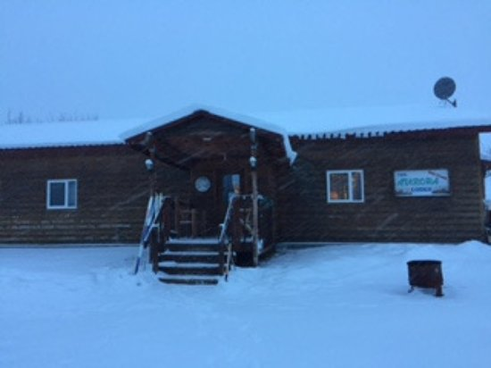 Bettles, AK: Aurora Lodge during a snow storm