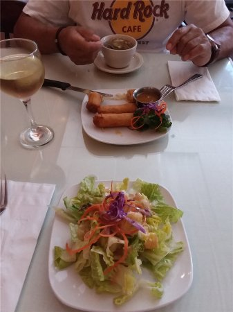 North Fort Myers, FL: Salad (comes with lunch), spring rolls and soup.
