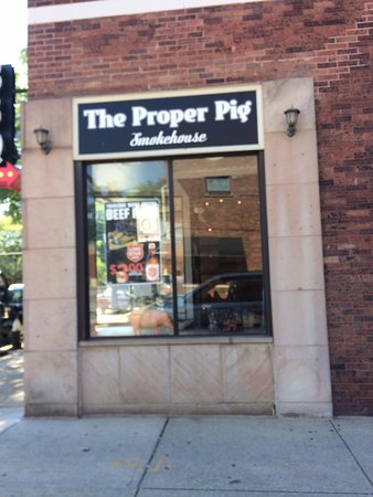 "Lakewood, OH: The Proper Pig on Detroit Avenue. Look for the neon ""BBQ""."