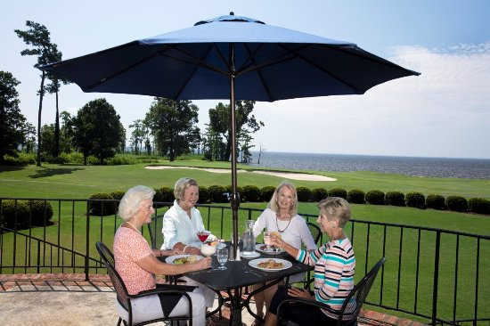 Hertford, NC: Terrace Seating overlooking Albemarle Sound and the 18th green of the Sound Golf Links